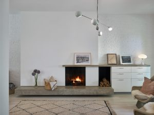 Dean Street Brownstone Renovation Living Room with Fireplace